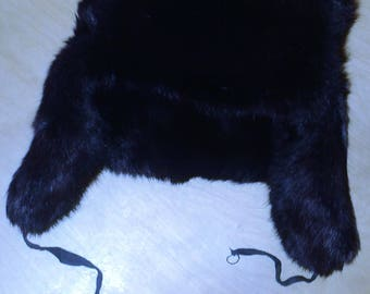 Vintage big hat fur trapper brown