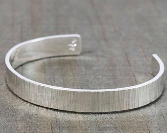 Silver Bracelet for Men - Mens Cuff Bracelet - Personalized Gift for Boyfriend - Engraved Message Bracelet - Husband Anniversary Gift