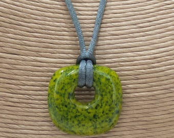 Green Fused Glass Pendant, Donut Pendant, Speckled Green Jewelry, Gifts Under 20, Ready to Ship, Fused Glass Jewelry - Zita - - 5