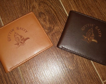 Gettin Salty Leather Wallet - FREE PERSONALIZATION - Perfect Firefighter Gift!
