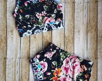 Infant Toddler Crop Top and Shorties PICK YOUR FABRIC