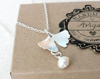 Sterling Silver Ginkgo Leaf Necklace, Silver Textured Leaf Necklace, Ginkgo Leaf Pendant and Fresh Water Pearls