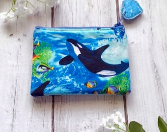 Whale/ocean zipper pouch, card wallet, makeup bag, pencil pouch, eco friendly choose your size