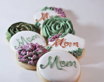 Happy Mother's Day Sugar Cookies -edible succulent cookies  - Best Mother's Day gift - sweet - Mom  cookies  - Floral - Mother's Day cookies