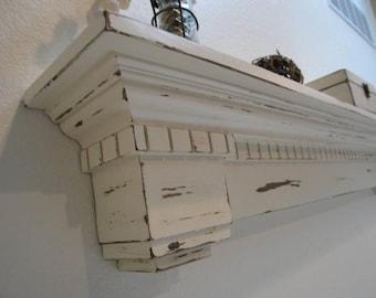 Antique white mantel shelf