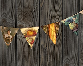 Vintage Harvest Thanksgiving Bunting Printable