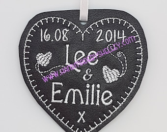 Third 3rd Wedding Anniversary 100% Real Leather Personalised Heart: Gift Husband Wife Him Her Bride Groom, with matching ribbon custom