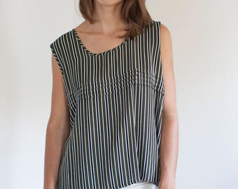 Boxy striped tank - pleated forest green black white top - L