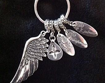 Inspirational Keychain, Christian Keychain, Cowgirl Keychain, Angel Wing Pendant