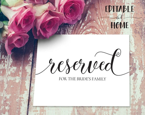 Reserved for Family Sign INSTANT DOWNLOAD