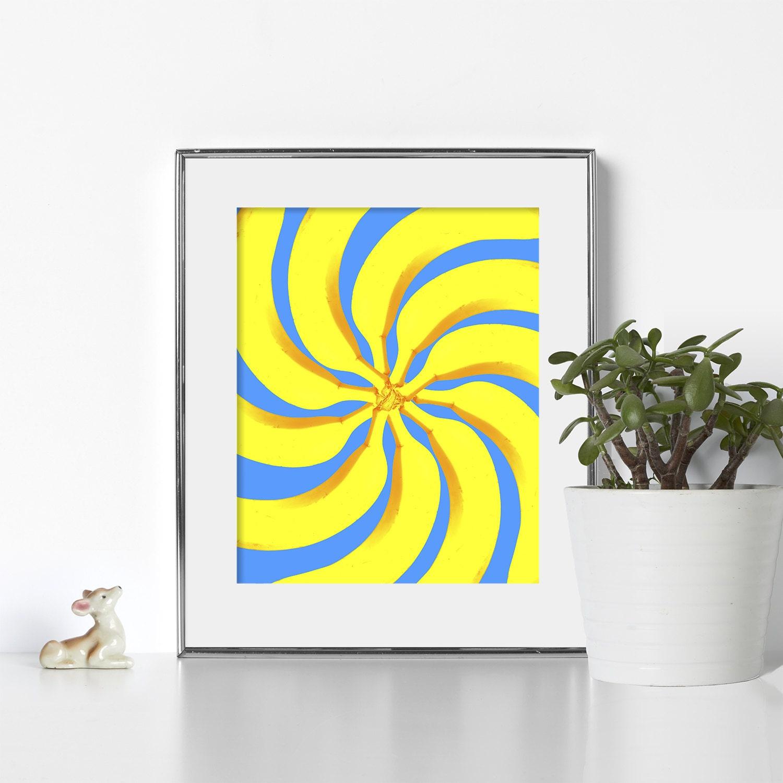 Banana Print Digital Download Pop Art Colorful Print Tropical