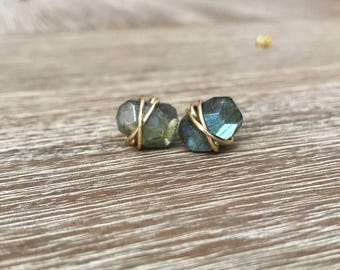 Labradorite Stud Earrings, Wire Wrapped Earrings,Earrings, Southern Wire, Wire Wrap Handmade, labradorite Jewelry