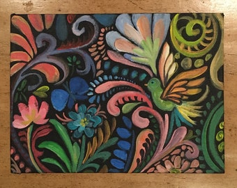 "BEAUTIFUL decorative folk art ORIGINAL acrylic painting on canvas panel... 9""x12"""