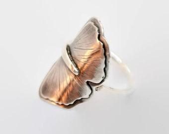 Gingko leaf silver ring, hand engraved leaf ring sterling silver, silver boho ring, gingko leaf silver ring gift for her, silver leaf ring