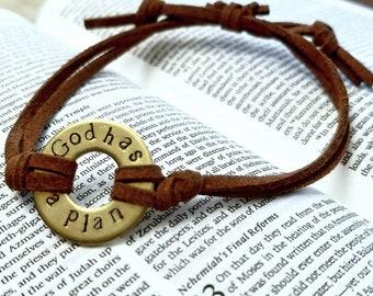Custom washer bracelet-washer bracelet-mens bracelet-unisex bracelet-hand stamped-brass-aluminum-faux suede-gift for him-fathers day