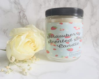 Strawberry Scented Candle - Soy Wax Candle - Bakery Candle - Bakery Scents - Fruity Candle - Soy Candles Handmade - Scented Candles - Candle