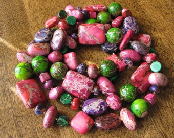 Guirlande d'été - Purple, pink and green aqua terra jasper long necklace.