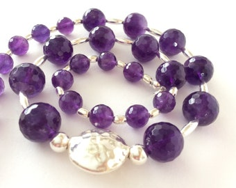 Amethyst and Sterling Silver Luxury Gem Bead Necklace