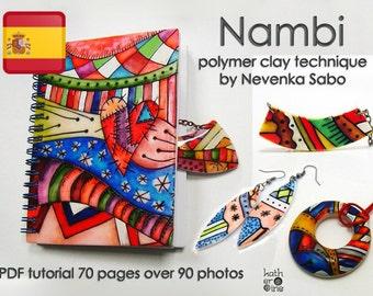 Tutorial de arcilla polimérica, tutorial en PDF, la técnica Nambi, libro electrónico, DIY craft idea, Step by step instructions, Colorful