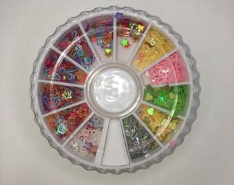 Wheel of nail confetti