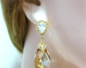 Swarovski Golden Shadow Earrings Bridal Crystal Earrings Champagne Gold Teardrop Earrings Bridesmaids Gift Wedding Jewelry Gift Set (E024)