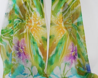 Tropical Floral Scarf, Hand Painted Silk Chiffon Oblong Scarf or Wrap in Soft Spring Summer Colors