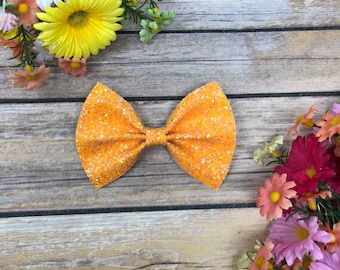Orange Sparkle Bow
