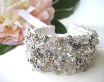 Haute Couture Embroidered Bridal Cuff 1.5 Inch Bracelet
