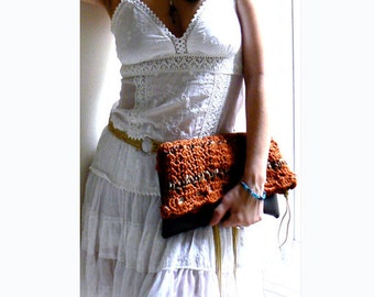 Copper foldover crochet clutch- Women boho crochet bag- Brown faux leather evening clutch- Trendy handbag- Sparkle eco leather crochet bag