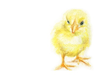 Watercolor Chick, Baby Chick Print, Yellow Chick Print, Farm Animal Print, Animal Art