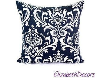 Black and White Floral Print Pillow Cover, Decorative Throw Pillows