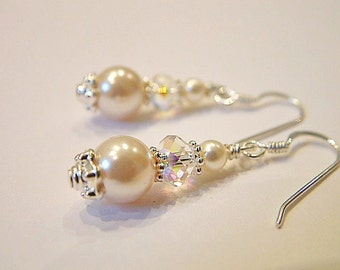 Snowdrift crystal and pearl earrings - bridal