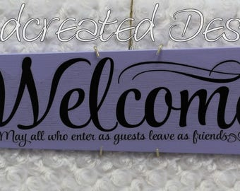 Lavender Purple Welcome Sign, Repurposed Fan Blade, Upcycled Wall Art, Recycled Wall Decor, Altered Wall Hanging, Handmade