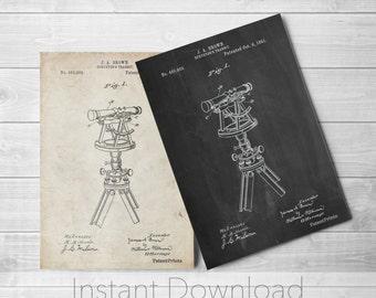 Surveyor Transit Printables, Land Surveyor, Industrial Art, Office Decor, Living Room Wall Art, PP1075