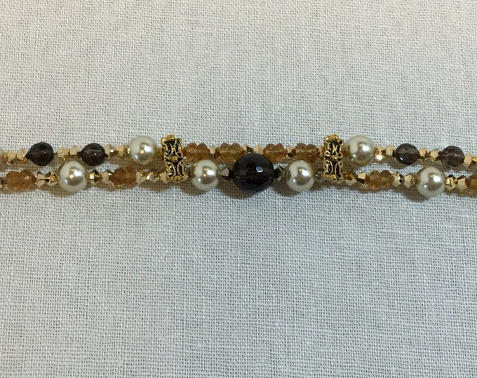Double-strand smoky quartz and citrine bracelet