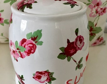 Lovely Cath Kidston Rosalie vintage style ceramic sugar canister with vintage rose and red heart