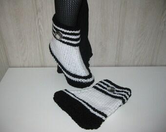 two-tone black/white woman wool slippers