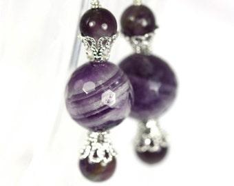 Natural Amethyst earrings, Amethyst earrings, Purple earrings, Natural Gemstone earrings, handmade Amethyst earrings,