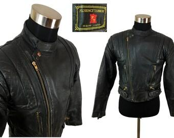 Vintage 80s Black Leather Motorcycle Racing Jacket 38 - MEDIUM , Slim // Moto // Biker // Harley Davidson // 1980s // Racing // Padded // M