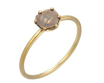 Natural Light Champagne Mocha, Rose Cut Diamond Slice Ring. 14kt Yellow Gold Solitaire Ring. Handmade by Gevani
