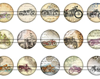 "Steam Punk Motorcycles Magnets, Steam Punk Motorcycle Pins Badges, 1"" Inch Flat Backs, Hollow Backs, 12 ct, Set 3"