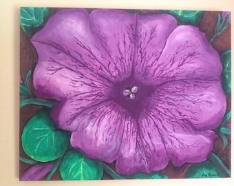 Original,hand painted,16x20,purple petunia,petunia, flower,summer,floral art,garden,acrylic painting , canvas.