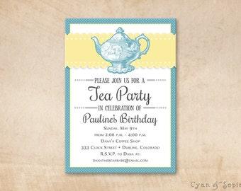 Printable Tea Party Birthday Invitation - 5x7 - Vintage Blue - Delft Pastel Teal Buttercup Lemon Yellow Retro Polka Dot Teapot