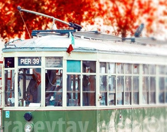 San Francisco Cable Car Print, Red, Green, Pier 39, Fall, Rustic, California Print, Vertical Office Decor