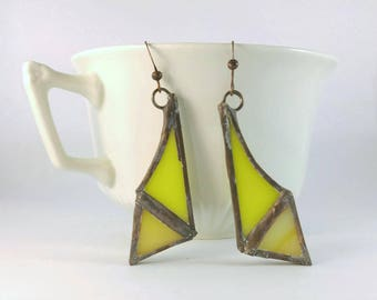 Yellow stained glass earrings