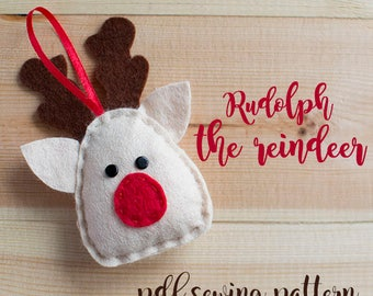 Rudolph het rendier - PDF naaien patroon, vilt rendieren, kerst ornament, softie