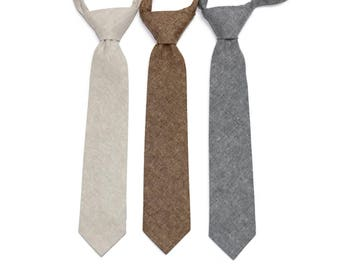 Linen Boys Necktie~Cotton Necktie~Wedding Tie~Boys Pretied Necktie~Linen Necktie