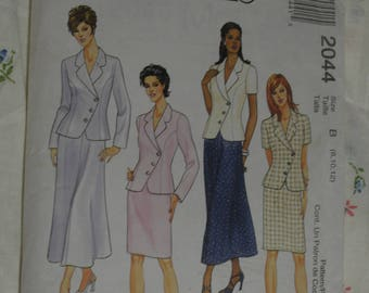 McCalls 2044 Misses Lined Jacket ad Skirts Sewing Pattern UNCUT Size 8 10 12