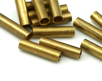 10 Pcs Raw Brass Tube 20 x 5 mm (hole 3,8 mm) industrial brass Charms,Pendant,Findings spacer bead