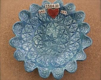Personalised wedding bowl made to order, Trinket bowls with vintage lace pattern -  handmade stoneware dish - memory dish
